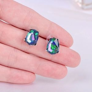 3/$23 Green/Blue Stone Stud Silver Earrings